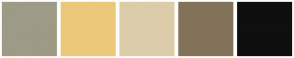 Color Scheme with #9D9B86 #ECC87A #DCCCAA #827259 #0F0F0F