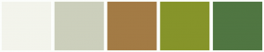 Color Scheme with #F3F4EC #CCCFBC #A37B45 #86942A #507642