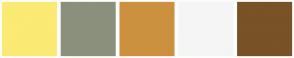 Color Scheme with #FBEA74 #8B907C #CB913F #F5F5F5 #795227