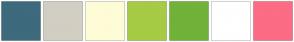 Color Scheme with #3D6A7D #D3CEC3 #FEFCD7 #A6CB45 #71B238 #FFFFFF #FC6C85