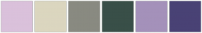 Color Scheme with #DAC1DB #DBD6BF #898A81 #394F48 #A491BA #494275