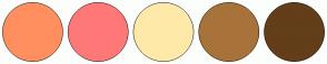 Color Scheme with #FF8F5E #FF7878 #FFE9A8 #A8723B #633E19