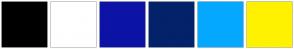 Color Scheme with #000000 #FFFFFF #0C13A6 #032269 #05A8FF #FFF200