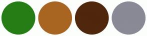 Color Scheme with #267D16 #A86522 #4F270C #8A8996
