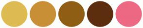 Color Scheme with #DEBB52 #C98F36 #8F5E14 #5C2E0F #ED6883