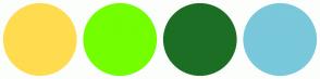 Color Scheme with #FFDC4F #73FF00 #1D6E25 #79C8DB