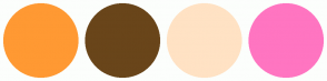Color Scheme with #FF9933 #69451A #FFE2C4 #FF75C1