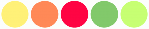 Color Scheme with #FFF178 #FF8957 #FF0544 #82C96B #C7FF73