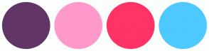 Color Scheme with #613666 #FF99CC #FF3366 #4DC9FF