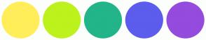 Color Scheme with #FFEE59 #BDF21D #21B589 #5C5CED #954BDE