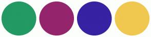 Color Scheme with #239964 #94256D #3622A3 #F0C84F