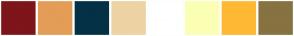 Color Scheme with #7D151A #E39D56 #043145 #EDD3A4 #FFFFFF #FBFFB3 #FFB833 #877241