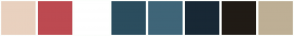 Color Scheme with #E9D1BF #BD4A51 #FFFFFF #2B4D5E #3F6578 #182835 #201B15 #BEAF95