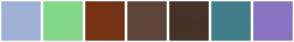 Color Scheme with #9FB1D6 #84D688 #753215 #5F463A #443227 #427E8A #8A74C2