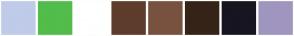 Color Scheme with #BFCBE9 #52BD4A #FFFFFF #5E3C2B #78523F #352318 #161520 #A095BE