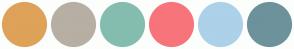 Color Scheme with #DEA259 #B7AFA3 #84BDAF #F7747B #ACD1E9 #6D929B
