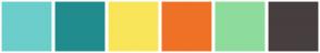 Color Scheme with #6CCECB #218C8D #F9E559 #EF7126 #8EDC9D #473E3F