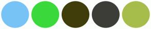 Color Scheme with #78C3F5 #3BD93B #403D0B #3D3D38 #A6BD4B
