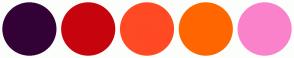 Color Scheme with #330136 #C7040E #FF4A24 #FF6600 #FA82CA