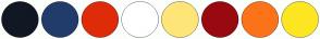 Color Scheme with #101823 #213C6B #DF2B08 #FFFFFF #FFE577 #980A10 #FC731A #FDE622