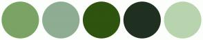 Color Scheme with #7BA365 #8EAD93 #2E540F #1F3020 #B7D4AE