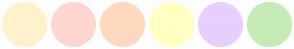 Color Scheme with #FFF2CC #FFD6D1 #FFD9BF #FFFFC2 #E7CFFF #C6EBB7