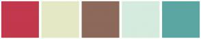 Color Scheme with #C2384D #E5E8C5 #8C695A #D5EBDD #5BA6A2