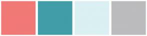 Color Scheme with #F17976 #409EA8 #DAF0F2 #BCBBBD