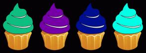 Color Scheme with #0DBF81 #7600A8 #000F91 #00FFE5