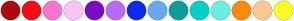 Color Scheme with #AD0911 #F50C18 #FA75CC #FAC5F2 #7B0CC4 #B86AF7 #0A2CF0 #67A7F0 #0D9E97 #06CFC5 #6BEDE0 #FA8A0A #FAC793 #FAFA25