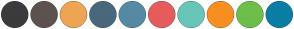 Color Scheme with #3B3B3D #5D524E #EDA554 #49687C #5689A4 #E65C5C #68C6B8 #F78F20 #6EBE4B #0A7EA5
