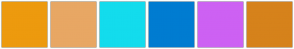 Color Scheme with #ED9A0E #E8A764 #13DCED #007CD1 #CD61F3 #D6821B