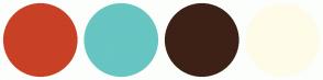Color Scheme with #C84127 #67C5C2 #3D2117 #FEFCE8