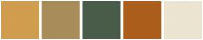 Color Scheme with #D19D4F #A88D59 #495C49 #AB5E1B #EBE5D1
