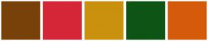 Color Scheme with #78410A #D42637 #C9910E #0E5415 #D45B0B