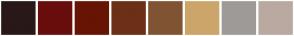Color Scheme with #291818 #690D0D #681405 #6C3016 #805433 #CCA56A #9E9A97 #BAA9A0