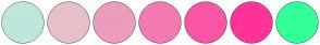 Color Scheme with #BEE6DC #E6C0C9 #EC9DBD #F37AB1 #F956A5 #FF3399 #33FF99