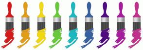Color Scheme with #D41C1C #E19D17 #F2D812 #6AC93C #1CB8BF #39609F #500C80 #A51E9B #C1328A