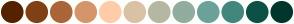 Color Scheme with #552200 #804015 #AA6639 #D4956A #FFCCAA #DAC2A6 #B6B7A2 #91AD9D #6CA299 #43877C #0D5146 #00362D