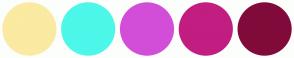 Color Scheme with #FAEAA2 #4DF7E9 #D24ED9 #C21D80 #800B3A