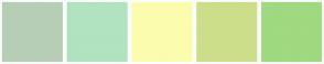 Color Scheme with #B6CEB6 #B1E3C0 #FCFCAE #CDDE8A #9FD980