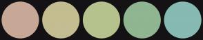 Color Scheme with #C7A897 #C4BD91 #B5C28D #8FB591 #86BAB2