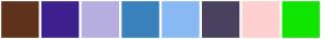 Color Scheme with #5F331B #3D208E #B6AFDF #3981BC #88B9F4 #49425E #FFD0D0 #10E500
