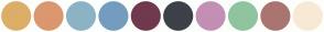 Color Scheme with #DDAE68 #DB976F #8CB3C4 #749CBF #70394D #3D4048 #C48FB4 #8FC49F #AA7570 #F8E9D5