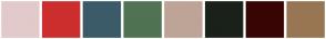 Color Scheme with #E2CACA #CC2E2D #3B5B68 #507353 #BEA497 #1A2119 #380504 #987653