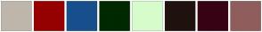 Color Scheme with #BEB6AB #960000 #174F8C #002900 #D7FCCB #1F120F #370214 #905D5D