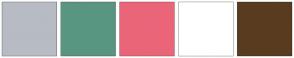 Color Scheme with #B7BBC4 #599681 #EB6579 #FFFFFF #593C1F