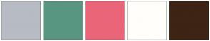 Color Scheme with #B7BBC4 #599681 #EB6579 #FFFEFA #3D2414
