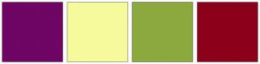 Color Scheme with #6F0564 #F6FA9C #8CA93E #8C001A