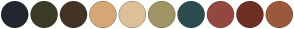 Color Scheme with #21272F #3C3B25 #433326 #D4A775 #DDC099 #A19566 #2D4C4F #944840 #6D3023 #9C593C